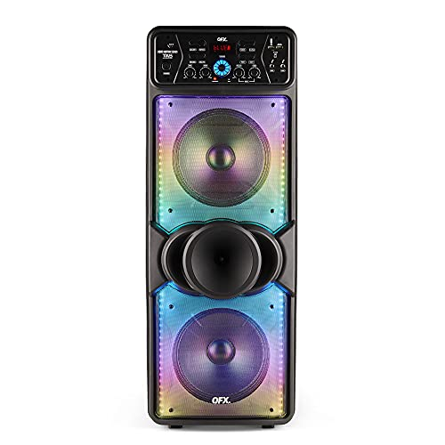"""QXF LMS-210 TWS Bluetooth Dual 10"""" Woofer 1"""" Tweeter Rechargeable Recording Portable Speaker with USB/TF Card Port Wireless Microphone with Echo Control FM Radio Liquid Motion Lights (2021 Model)"""