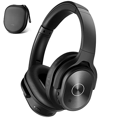 ZIHNIC Active Noise Cancelling Headphones, 40H Playtime Wireless Bluetooth Headset with Deep Bass Hi-Fi Stereo Sound,Comfortable Earpads for Travel/Home/Office (Black)