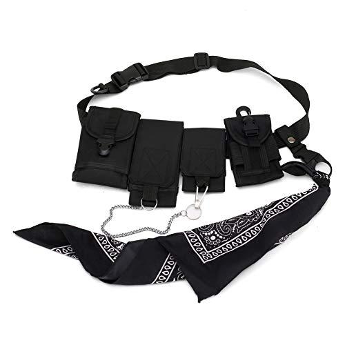EFINNY Multifuncional Riñonera Hip Hop Cofre para Hombres Moda Streetwear Cofre Rig Fanny Multi-Bolsillo Viaje Crossbody Teléfono Cinturón Bolsa Portátil Casual Bolsa Cintura Paquetes