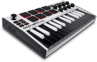 AKAI Professional MPK Mini MK3 - 25 Key USB MIDI Keyboard Controller With 8 Backlit Drum Pads, 8 Knobs and Music Production Software Included (White)
