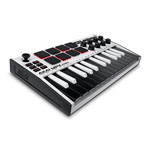 AKAI Professional MPK Mini MK3 White – 25-Tasten USB MIDI Keyboard Controller, 8 hintergrundbeleuchtete Drum Pads, 8 Regler, Musikproduktion-Software
