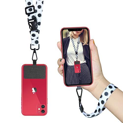 ROCONTRIP Cordón para teléfono Correa de Cuello con Parche Cordón con Correa para el Cuello Desmontable Compatible con la mayoría de los teléfonos Inteligentes para iPhone Google Pixel LG HTC