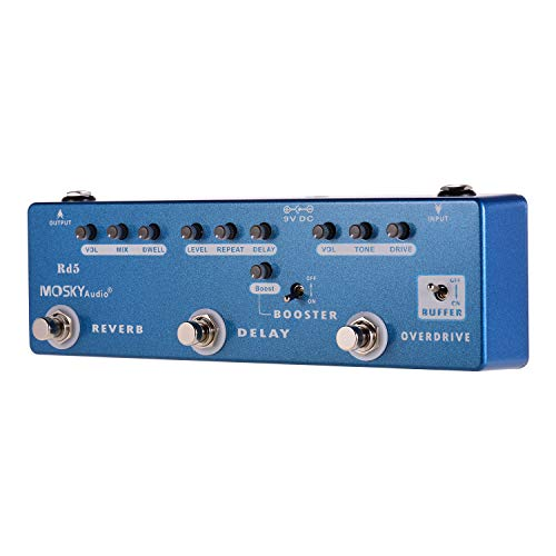 RD5 5-in-1 Guitar Effects Pedal Reverb + Delay + Booster + Overdrive + Buffer Full Metal Shell with True Bypass