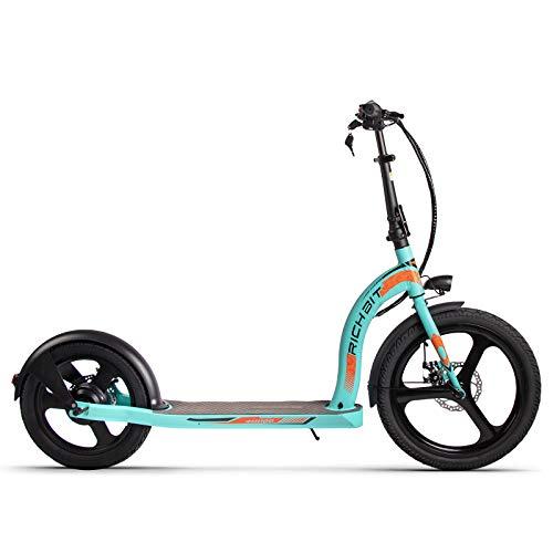 RICH BITScooter elettrico,motore per scooter per adulti pieghevole elettrico da 20-16 pollici 350W (blu)