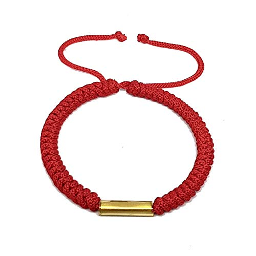Origin Siam Handmade Lucky Tibetan Mantra Knot Rope Bracelet | Adjustable Cord String Amulet Wristband | Unisex Friendship Band for Energy, Luck, Love and Unity (Red)