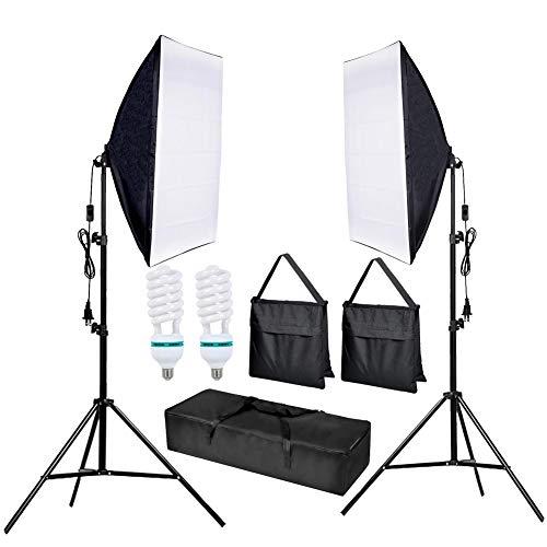 CRAPHY Upgraded 20x28 Photography Lighting Kit Auto Pop-Up Softbox Light Kits 800W 5500K Photography Softbox Light Set Softboxes Continuous Lighting for Photo Studio Portrait Video Shooting