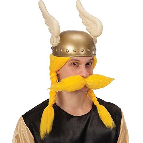 Perruque et Moustache Jaune Gaulois Viking - Accessoire Deguisement -157