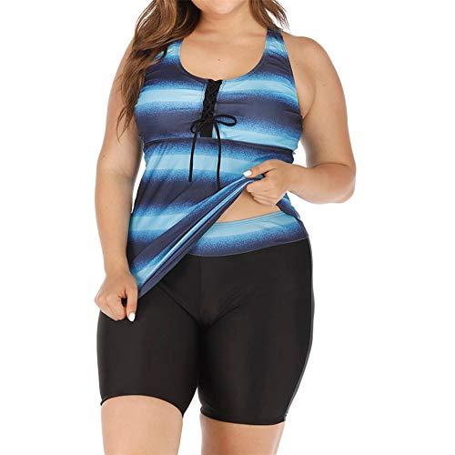 Aiserkly 2020 Reizvoller Tankini Set Damen Streifen Gradient Zweiteiliger Badeanzug Sportlicher Schwimmanzug Klassischer Beachwear Schlankheits Push Up Bademode X-Blau 2XL