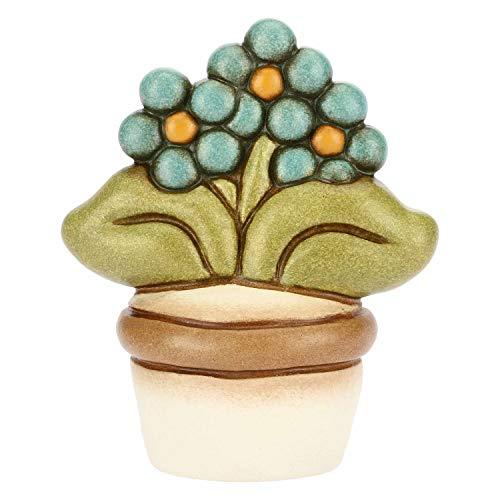 THUN - Vasetto Decorativo con Fiore Non Ti Scordar di Me - Soprammobile - Bomboniere e Accessori per la Casa - Linea I Classici - Formato Piccolo - Ceramica - h 6,2 cm