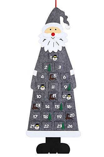 Aitsite Weihnachtsfilz Adventskalender, 3.8Ft Wandbehang Santa Filz Adventskalender mit 24-Tage-Taschen Weihnachten Countdown-Kalender Dekorationen für Neujahr Home Office Türwand - Gray