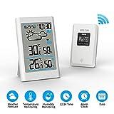Ray Cue Station météo sans Fil, Radio météo numérique avec sonde extérieure, thermomètre numérique hygromètre Humidité ambiante extérieure avec prévisions météo, Horloge, Alarme et veilleuse (White)