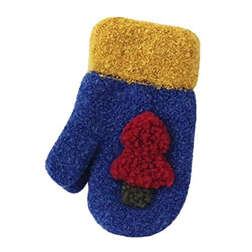KAILLEET Weihnachten Handschuhe Cartoon Kind Niedlich Weihnachtsbaum Warm Baby-Mädchen-Winter-Handschuhe (Farbe : Blau, Size : Free Size)