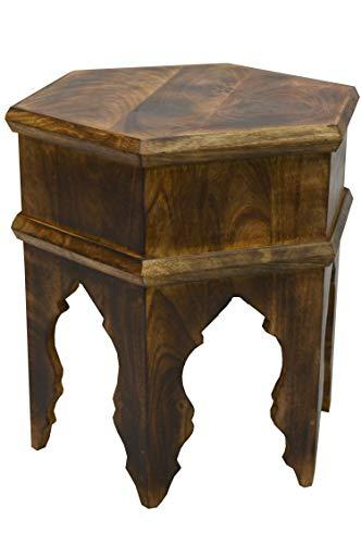 Marokkanischer Vintage Beistelltisch Hocker aus Holz Inam Braun ø 50cm rund | Orientalischer runder Tisch Blumenhocker klein für Wohnzimmer oder Küche | Orientalische Beistelltische als Dekoration