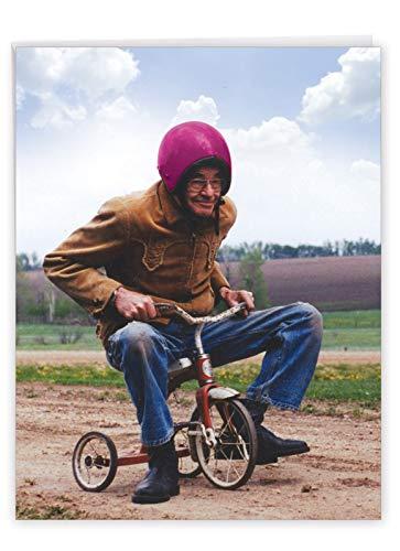 NobleWorks - Jumbo Funny Birthday Card for Men (8.5 x 11 Inch) - Bday Greeting for Dad, Husband - Senior Trike Ride J6435BDG