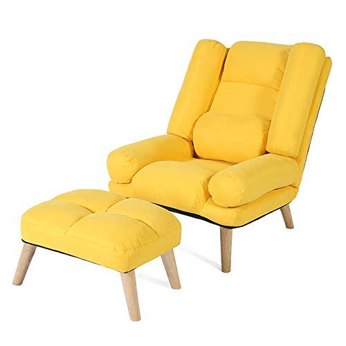 Sofá de Relax sillón de televisión con reposapiés Silla de Club para Patio Respaldo Regulable para salón o Dormitorio,Amarillo