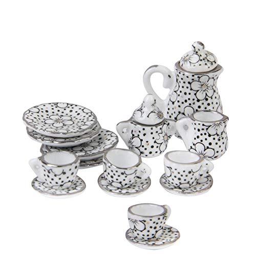 FeelMeet Muñecas Casa Accesorios Juguete Mueble Muebles Muebles Miniatura Copa De Porcelana Juego 1:12 Patrón De Placa De Té De Cena para Niños Navidad 15pcs