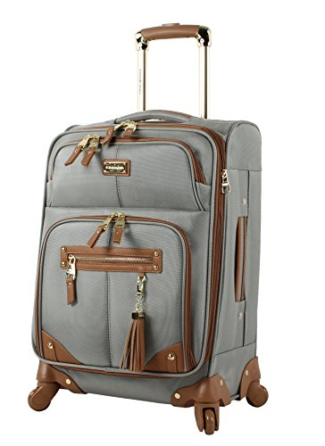 Steve Madden Designer 20 Inch Carry On Luggage Collection - Lightweight Softside Expandable Suitcase for Men & Women - Durable Bag with 4-Rolling Spinner Wheels (Harlo Gray)