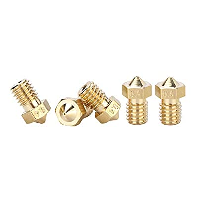 ANYCUBIC 5Pcs 0.4mm Brass 3D Printer Nozzle Print Head M6 Threaded Nozzle for MEGA 1.75mm ABS PLA Filament