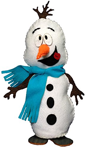Petra's knutsel-News sneeuwpop met turquoise sjaal incl. viltonderdelen, houten voeten, band, vulwatten en naald naaiset, hout/vilt, meerkleurig, 25 x 18 x 5 cm