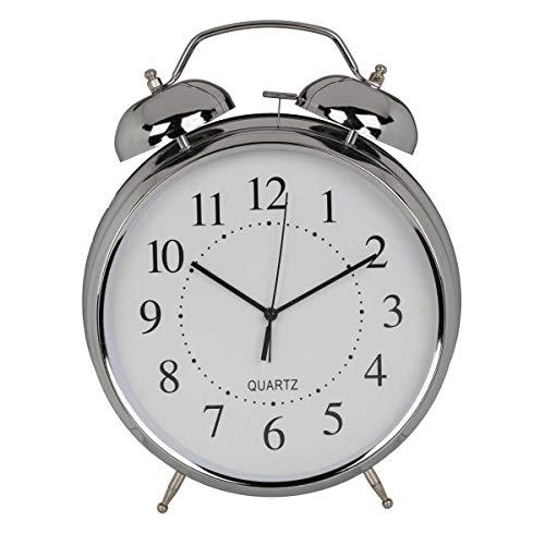 Out of the blue XXL Retro Metall Wecker Chrom anloger Glockenwecker mit Doppelgong im Vintage-Stil, silberfarben, zum Stellen und Aufhängen, auch als Wanduhr, 29 x 23,5 x 8 cm