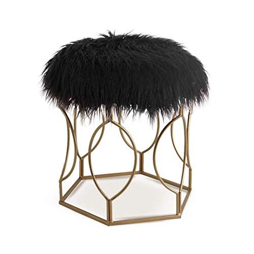 AAJOLG Tabouret Famille/Extérieur Home Long Fluff Vanity Stool Beauty Stool Makeup Dressing Chair Comfortable Shoe Stool (weiß),B