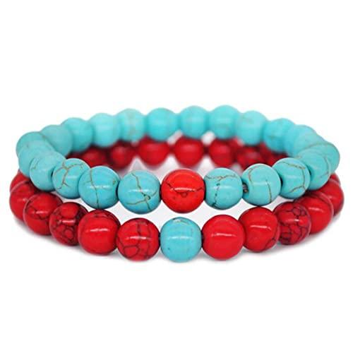 YHFJB 1 juego de pulsera con abalorios, pulsera y cadena con abalorios bonitos y elegantes, piedra natural brillante, para hombres y mujeres, elástico, color azul y rojo