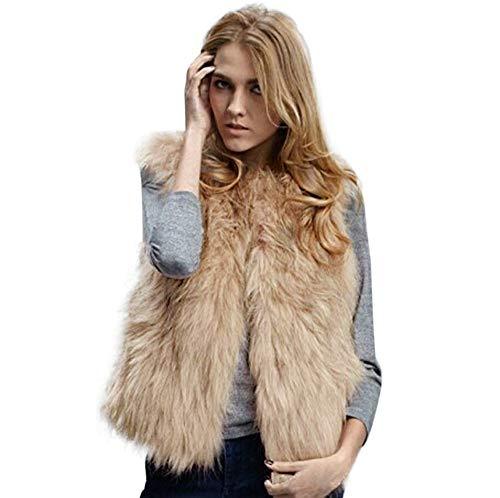 HROIJSL Weste Mantel Damen Ärmellose Kunstfellweste Winter Weste Sleeveless Oberbekleidung Mantel beiläufige Westen Jacke
