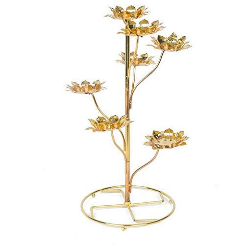Home Decor Birthday Light Cup Ghee Lamp Candle Holder Tibetan Brass Butter Copper Lotus Oil Lamp Buddhist Supplies (A1)