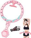 XEWEA Hoola Hoop Upgrade Smart Fitness Weight Loss Ring with LED Colorful Light ABS Detachable Massage Yoga Ring for Adult Child Abdominal Waist Exercise Sports Equipment with Jump Rope (New Pink)