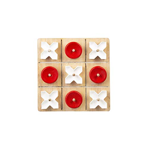 Ganz CB173853 Red and White Tic-Tac-Toe Game Board, 9-inch Width