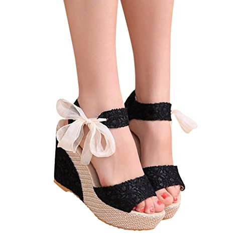 Han Shi Women Fashion Sandals Summer Casual Lace-Up Slope High Heel Loafers Shoes (Black, 8)
