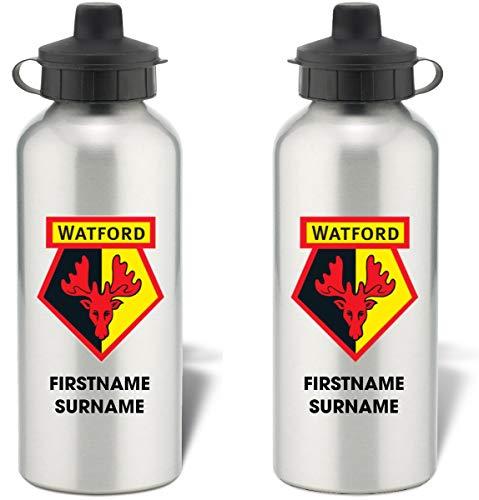 Personalised Watford FC Bold Crest Aluminium Sports Water Bottle - Silver Bottle