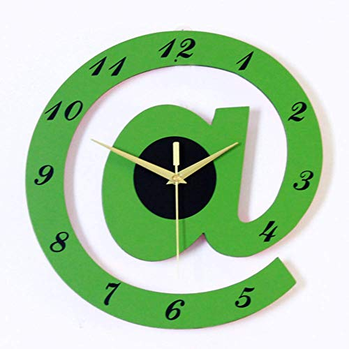 Relaxbx Wall Clock Battery Operated Non Ticking, Creative Wood Silent Quartz Clock Large Dial Easy To Read Living Room Hanging Clock-green 30x30cm(12x12inch)