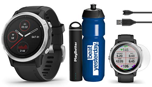Lowest Price! Garmin Fenix 6S (Gray with Black Band) Runner's Bundle | with Garmin Water Bottle, HD ...