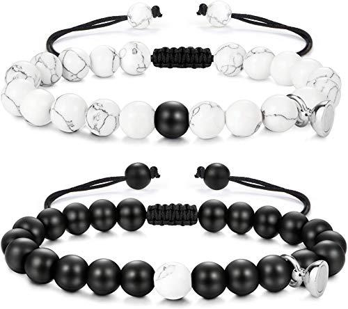 YADOCA Distance Couple Bracelet pour Hommes Femmes Magnétique Bracelets Couples Aimant Perle Bracelet Couple Amoureux pour 2 Cadeau Couple Amoureux