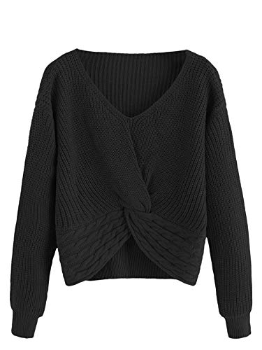MakeMeChic Women's Casual V Neck Sweater Long Sleeve Knot Front Crop Top Black S