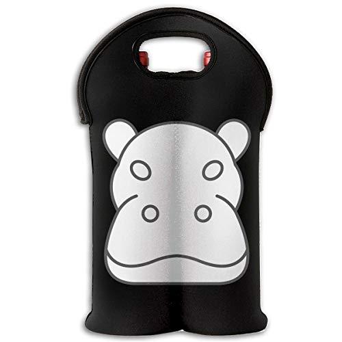 Iop 90p Hippo Head Silhouette 2-Flaschen-Thermoweinflaschen-Einkaufstasche Reisehalter