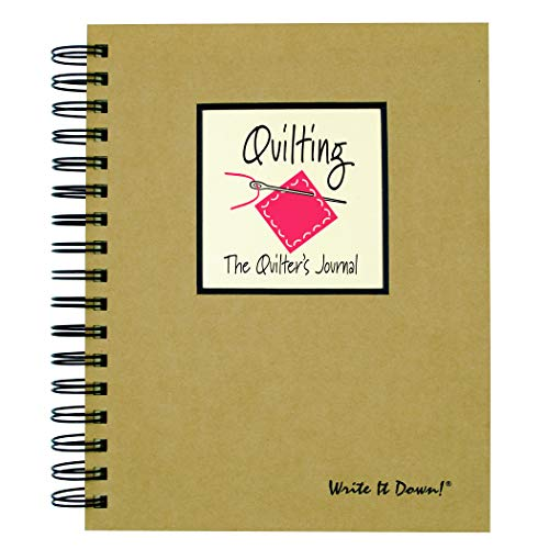 Journals Unlimited 'Write it Down!' Series Guided Journal, Quilting, The Quilter's Journal, with a Kraft Hard Cover, Made of Recycled Materials, 7.5'x 9'