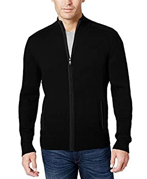 COOFANDY Mens Full Zip Up Sweaters Lightweight Casual Slim Fit Cardigan with Pockets  Small Mature Black