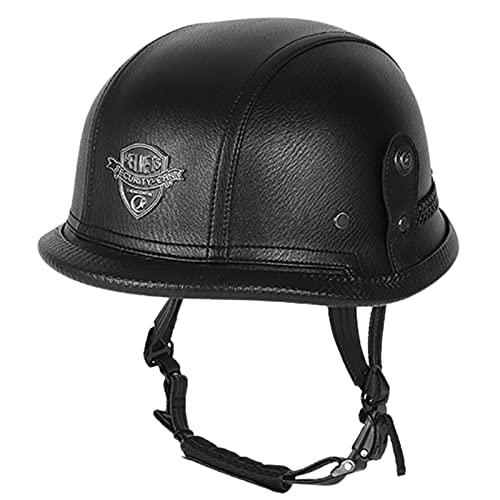 Moto Half Helmet,Cuero Medio Casco Abierto Gafas,ECE Homologado Vintage clásico Style Jet Helmet Scooter Bicicleta Motocross Casco protección I,(56-62CM)