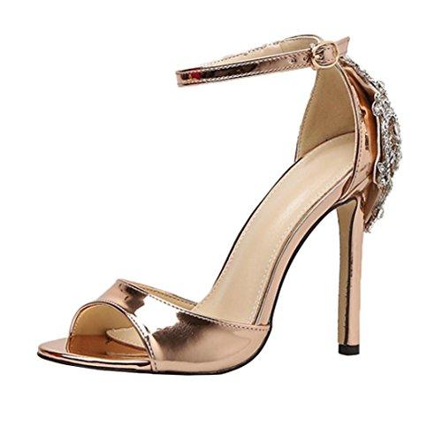 Damen Sandalen,Sannysis Mode Luxus Diamant High Heel Damen Sandalen Party Hochzeit Heels Schuhe Böhmen Pumps Peep Toe Stiletto Plateau Absatz Lackleder (38, Gold)
