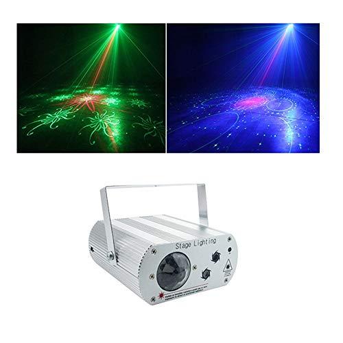 DyAn Led Luces del Escenario, 2 en 1 Gráficos 3D de luz láser, RGB 3W Auto/Sonidos/Vacaciones estroboscópico Modos for para el hogar al Aire Libre Partes y Fecha de Nacimiento (Color : A White)