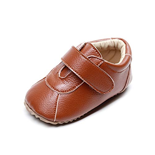 LIDIANO Non Slip Rubber Soft Sole Ankle Boots Crib Shoes, Microfiber Leather Moccasins, Baby Walking Shoes for Infant & Toddler 0-24 Months (Brown, 12_Months)