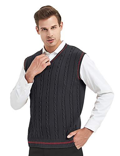 TOPTIE Men's V-Neck Cotton Twist Knit Sweater Vest Green and Red Trim