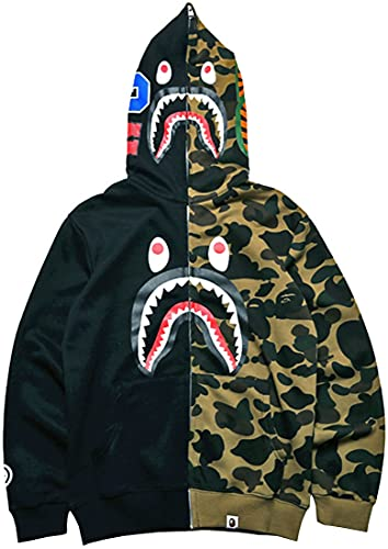 EUDOLAH Boys Shark Ape Bape Hoodie Camo Print Cotton Sweater Casual Loose Zip Hoodie Jacket For Girls Black green-a,Medium