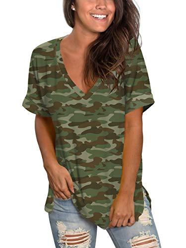 Women's Floral Shirt Juniors Polo Shirts Gym Summer Clothes Sexy V Neck Green Camo L