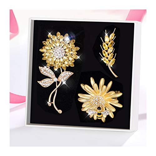 hongbanlemp 3 broches para mujer, broches para chal, broches de aleación, accesorios de moda, caja de regalo, regalos para reuniones anuales (3 estilos)