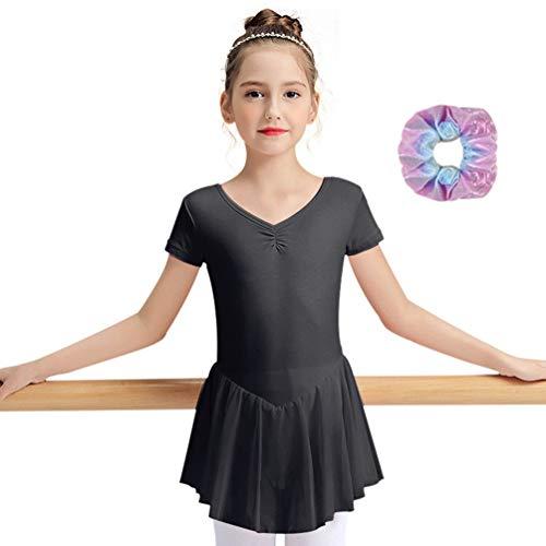 Sinoeem Maillot de Ballet para niña, de Manga Corta y Larga, de Manga Corta, con Vestido de Gasa (Negro - sin Mangas, 3-4 años)