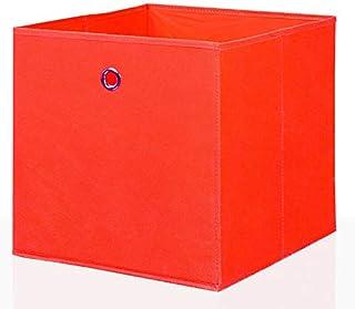 Mixibaby Lot de 4 boîtes de rangement pliables - Couleur : rouge - Dimensions : 26 x 26 cm