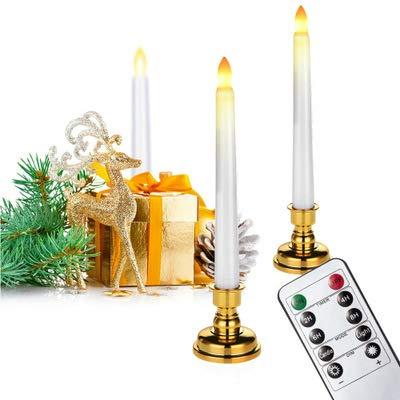 JIEQIJIAJU LED Flameless Slender Candles with Candle Holder Remote Control Electric Flickering Tea Lights Fake Velas Warm White Flame Votive Timer Tealight Home Decor - 3PC
